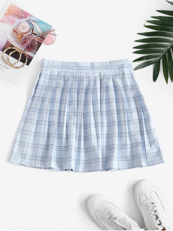 new Plaid Pleated Mini Skirt - LIGHT BLUE S