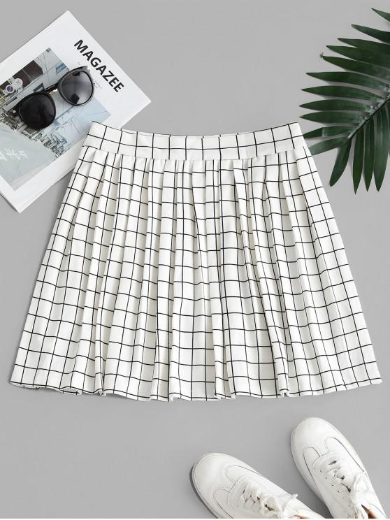 latest High Waisted Checked Pleated Mini Skirt - WHITE M