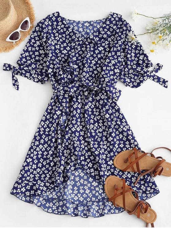 ladies Flower Ruffle Belted Tie Cuffs Dress - BLUE S