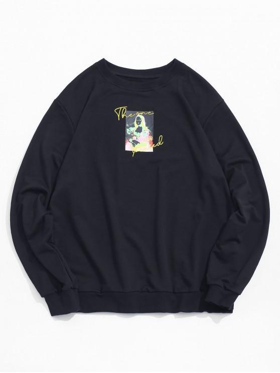 women's Photographic Print Crew Neck Graphic Sweatshirt - BLACK S