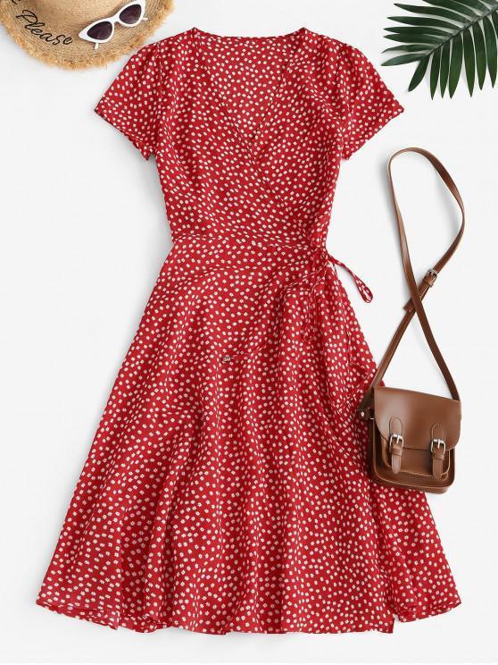 fashion Floral Midi Wrap Dress - RED S