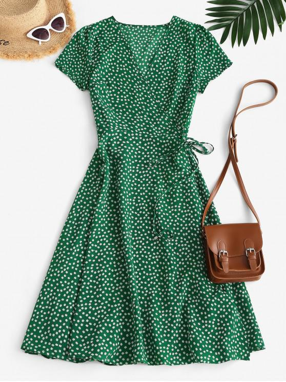 online Floral Midi Wrap Dress - GREEN L
