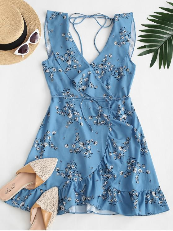 affordable Tiny Floral Tie Back Belted Ruffles Dress - BLUE S