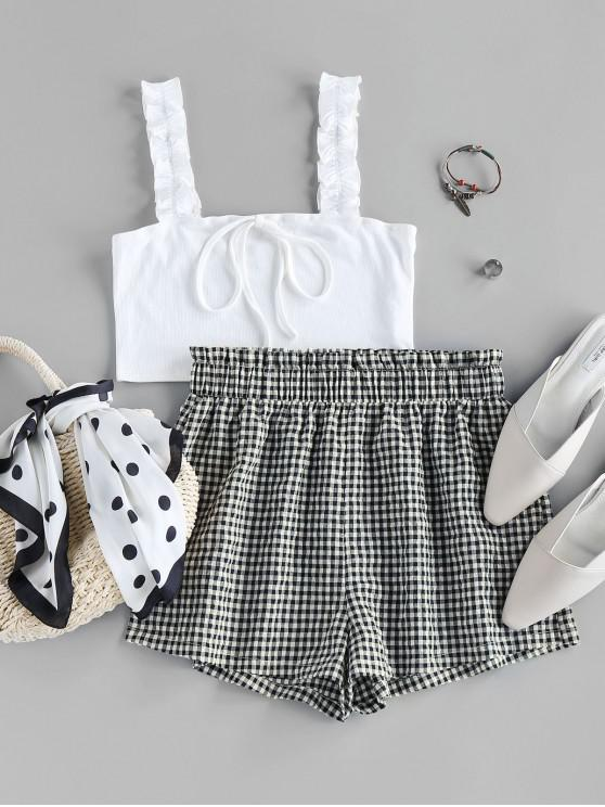 online ZAFUL Ribbed Crop Top and Checked Shorts Two Piece Set - MILK WHITE S