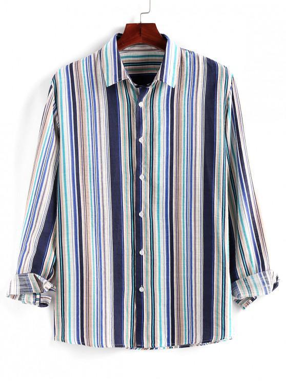 ZAFUL Striped Print Button Up Long Sleeve Shirt - متعدد S