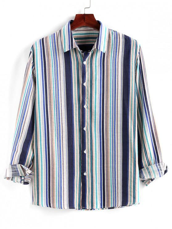 buy ZAFUL Striped Print Button Up Long Sleeve Shirt - MULTI XL