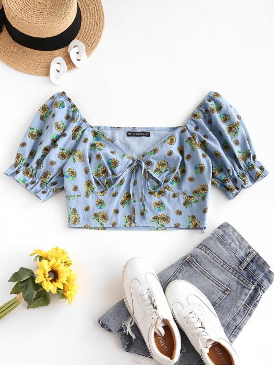 outfits ZAFUL Sunflower Puff Sleeve Tie Milkmaid Blouse - LIGHT BLUE M