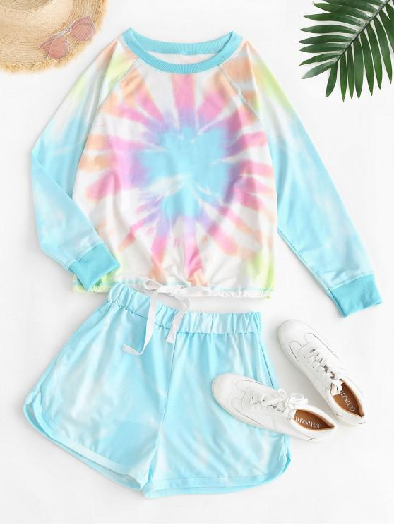 lady Lounge Drawstring Hem Tie Dye Two Piece Set - LIGHT BLUE 2XL