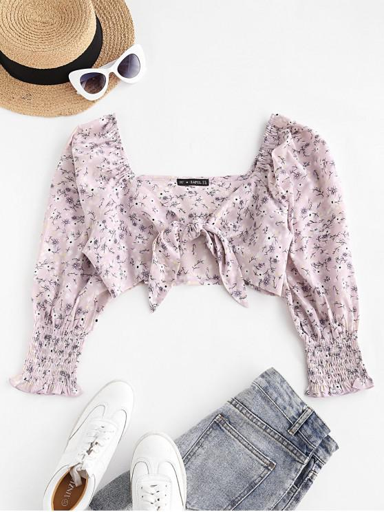 ZAFUL Floral Print Smocked Cuff Tie Front Crop Blouse - ضوء ارجواني M
