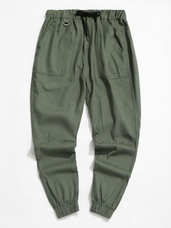 Drawstring Letter Applique Tapered Casual Pants - الجيش الأخضر XS