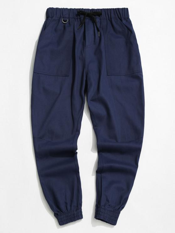 Drawstring Letter Applique Tapered Casual Pants - طالبا الأزرق M