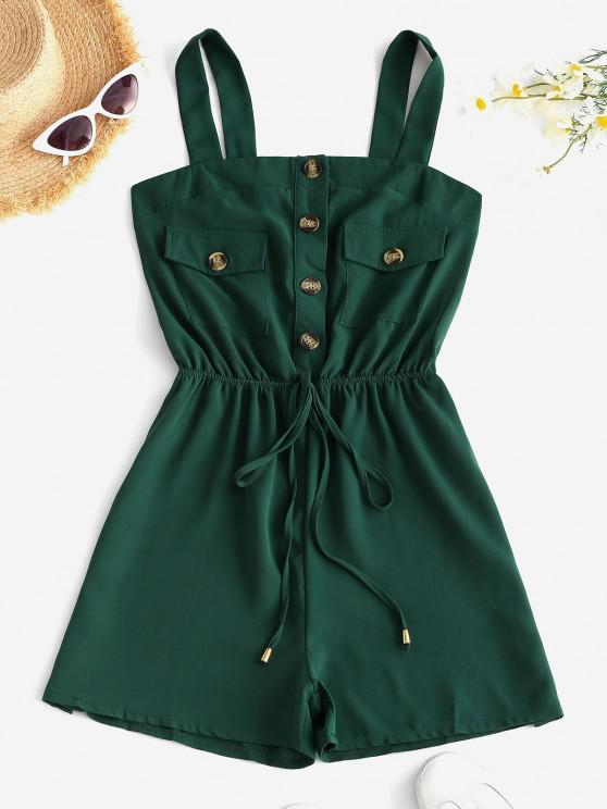 affordable Half Button Pocket Wide Leg Romper - GREEN M