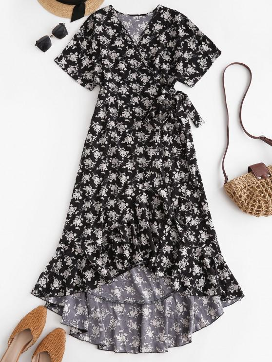 best Ditsy Print Ruffle Wrap Dress - BLACK L
