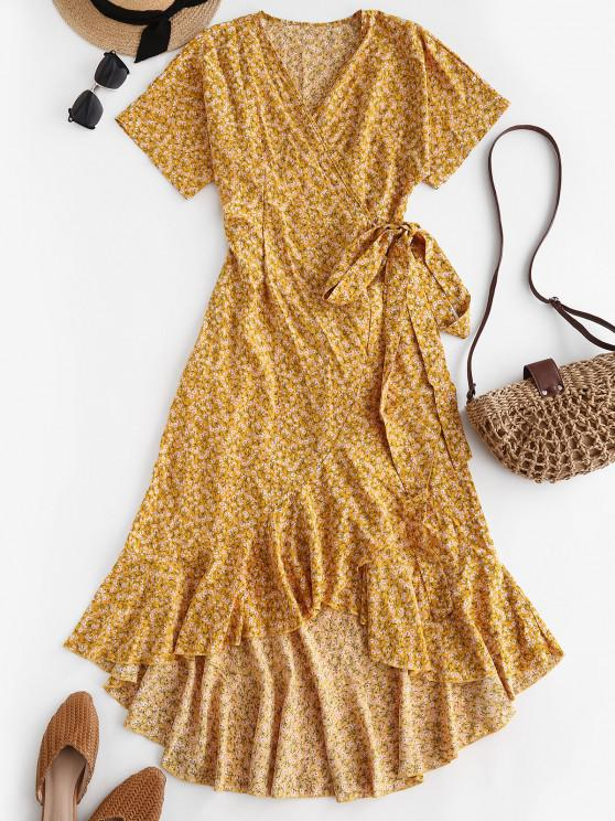 women Ditsy Print Ruffle Wrap Dress - YELLOW M