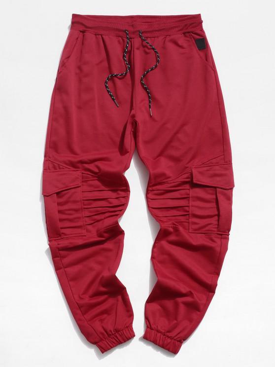 Pleated Drawstring Cargo Jogger Pants - أحمر 2XL