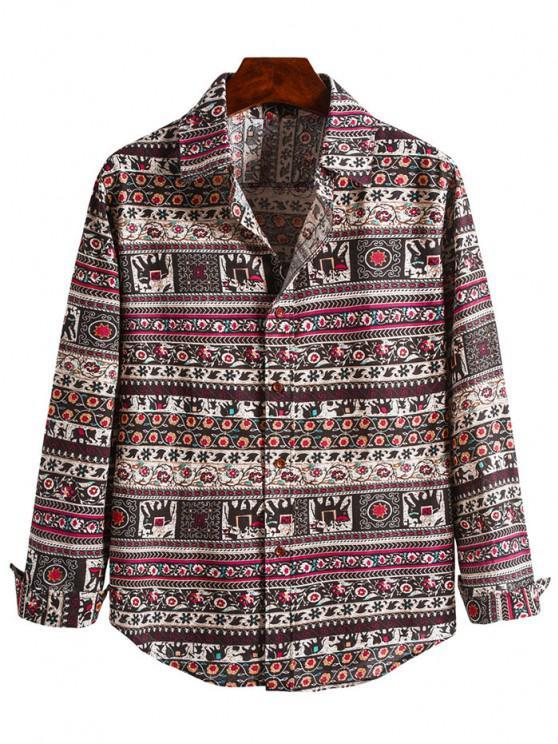 Floral Tribal Print Curved Hem Shirt - متعددة-B 2XL