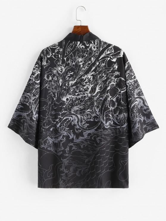 前開きドラゴングラフィック着物カーディガン - シルクホワイト L