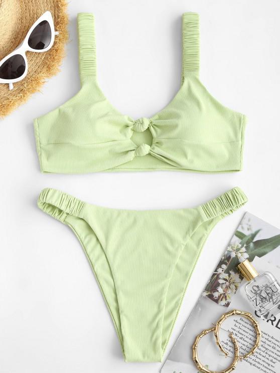 outfits ZAFUL Ribbed Knotted Keyhole High Leg Bikini Swimwear - LIGHT GREEN S
