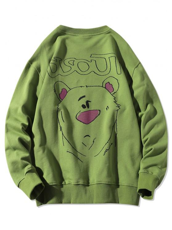 women Cartoon Animal Drawing Print Crew Neck Sweatshirt - FERN GREEN 3XL
