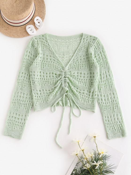 Open Knit V Neck Cinched Front Sweater - اخضر فاتح حجم واحد