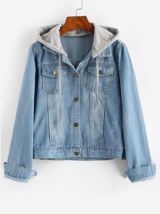 women Contrast Detachable Hooded Distressed Denim Jacket - BLUE L