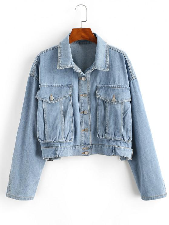 best Drop Shoulder Pocket Buckle Embellished Denim Jacket - BLUE L