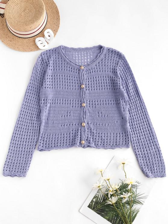 ladies Open Knit Pearly Button Up Cardigan - LOVELY PURPLE ONE SIZE