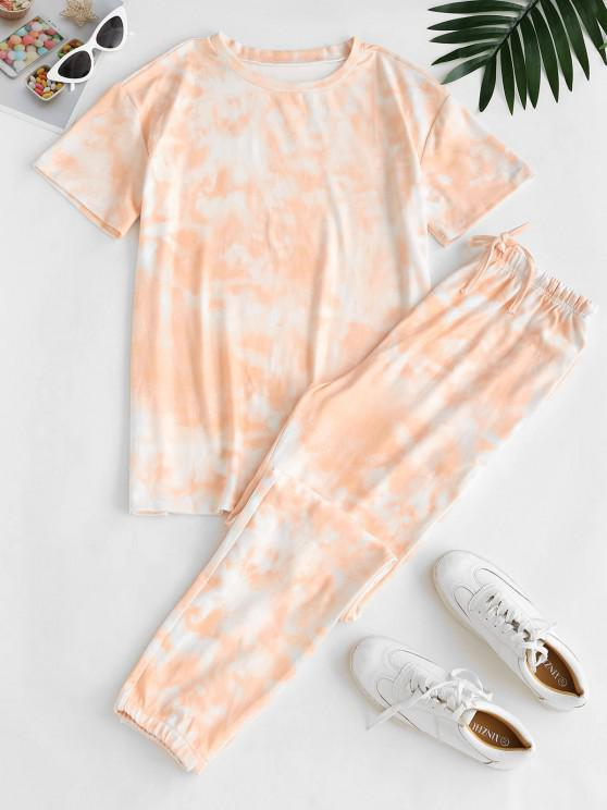lady Lounge Tie Dye Top And Jogger Pants Set - LIGHT PINK S