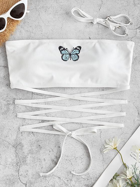 women's ZAFUL Ribbed Butterfly Print Criss Cross Swim Top - WHITE S