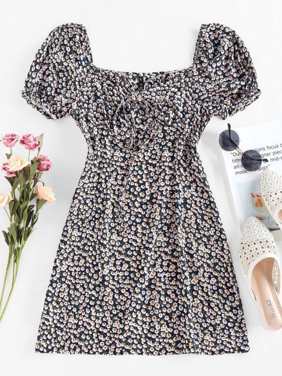 lady ZAFUL Tiny Floral Print Bowknot Milkmaid Dress - DEEP BLUE S