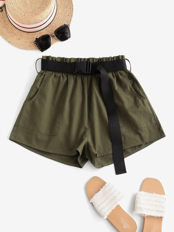affordable ZAFUL Pockets Buckle Belted Cargo Paperbag Shorts - DEEP GREEN S