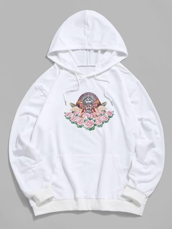 fashion Kangaroo Pocket Flowers Print Renaissance Art Hoodie - WHITE L