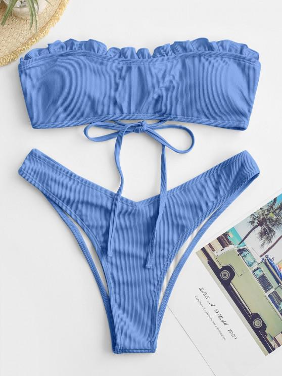 women's ZAFUL High Cut Frilled Bandeau Ribbed Bikini Swimwear - BLUE L