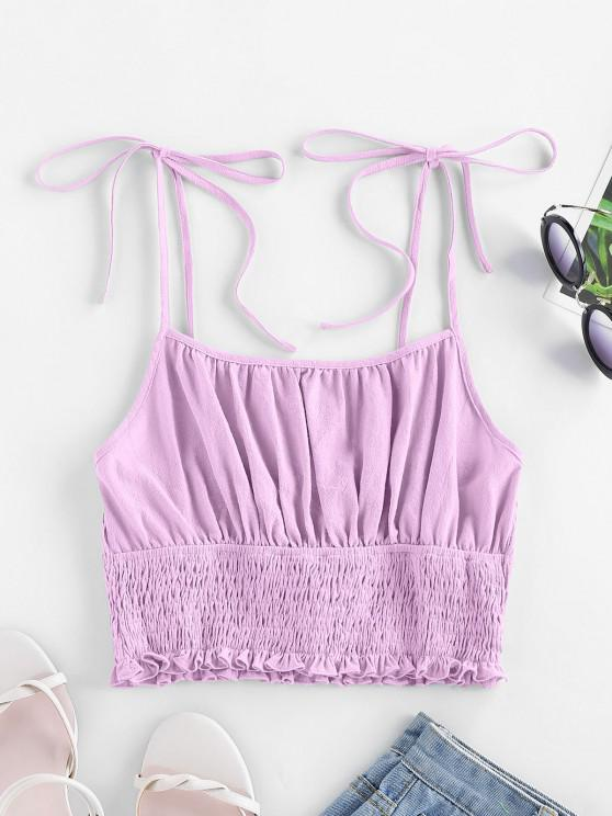 shops ZAFUL Tie Strap Ruched Smocked Cami Top - MAUVE M