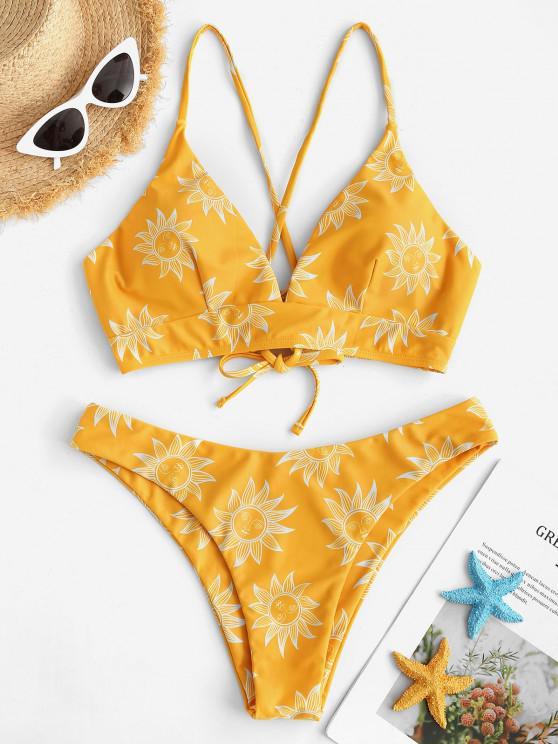 women's ZAFUL Sun and Moon Lace Up Bikini Set - YELLOW S