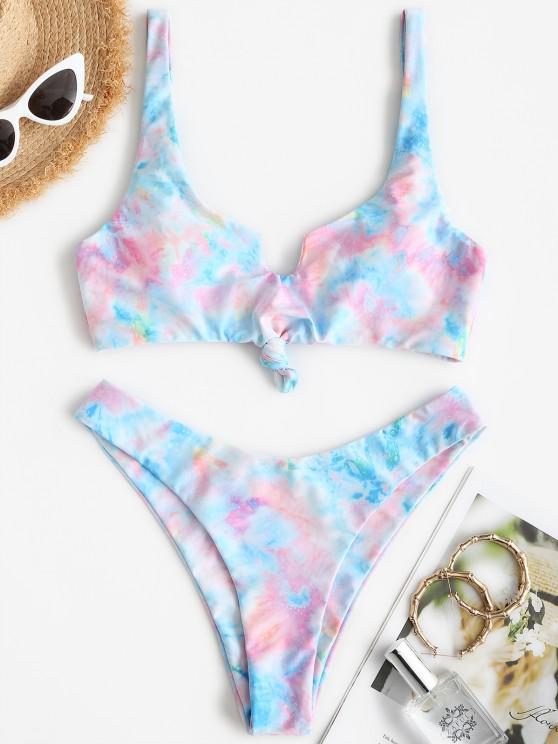 new ZAFUL Tie Dye Knotted High Leg Tank Bikini Swimsuit - MULTI S