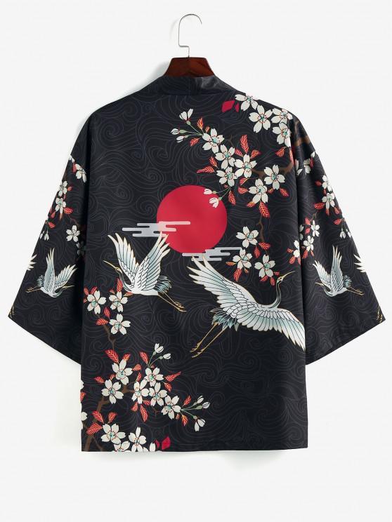 unique ZAFUL Floral Red Sun Flying Crane Print Kimono Cardigan - BLACK L