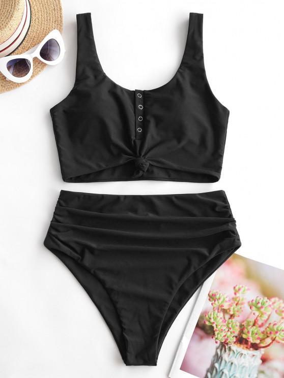 ZAFUL Tankini Badebekleidung mit Druckknopf und Bauchkontrolle - Schwarz S