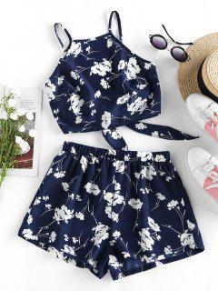 ZAFUL Flower Print Knot Cami Two Piece Set - Cadetblue S