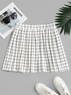 High Waisted Checked Pleated Mini Skirt - White S