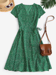 Floral Midi Wrap Dress - Green Xl