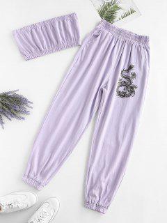 ZAFUL Two Piece Dragon Oriental Bandeau Top Set - Light Purple L