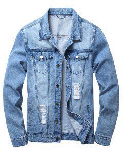 Ripped Flap Pockets Denim Jacket - Light Blue 3xl