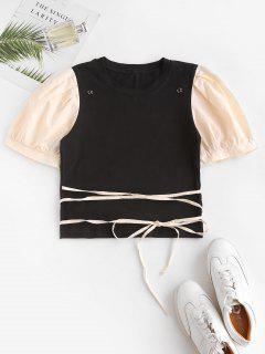 T-shirt Bicolore à Bretelle à Manches Bouffantes - Noir S