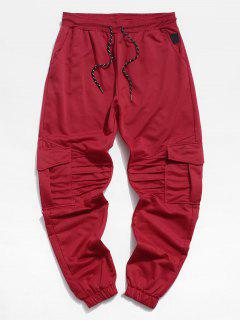 Pleated Drawstring Cargo Jogger Pants - Red 2xl