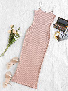 Robe Moulante Mi-Longue En Tricot - Rose Clair S