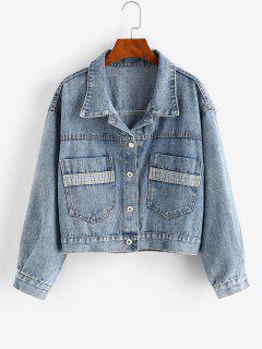 Drop Shoulder Pocket Single Breasted Denim Jacket - Blue L