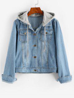 Contrast Detachable Hooded Distressed Denim Jacket - Blue M