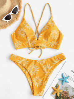 ZAFUL Sun And Moon Lace Up Bikini Set - Yellow M
