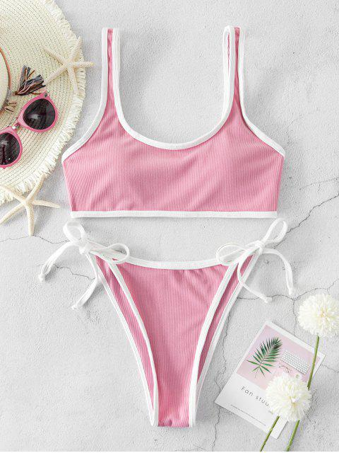 hot Emma MacDonald x ZAFUL Ribbed Piping Tie Side Bikini Swimsuit - PINK ROSE M Mobile